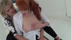 MILFs Lady Sonia And Red XXX In Seductive Lesbian Sybian Masturbation