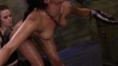 Sybian Riding Lesbian Sub Strapon Spitroasted