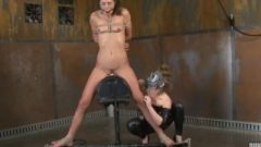 Gorgeous Skinny Brunette Planted On The Sybian And Made To Sperm