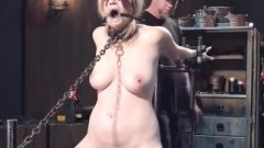 Busty Locked Golden-haired Whipped On Sybian