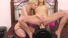 Golden-haired Lesbos Enjoy 69ing And Riding A Sybian