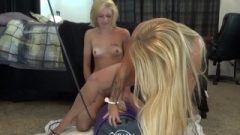 Kimberly & Melody Take Turns Having Intense Moaning Orgasms On The Sybian