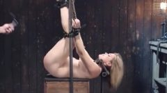Busty Locked Fair-haired Whipped On Sybian